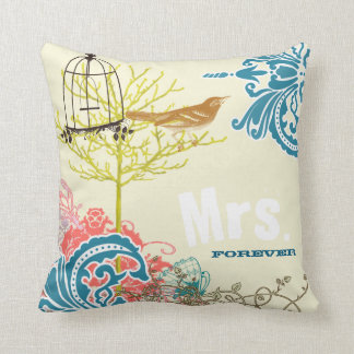 Birdcage do pássaro do amor do damasco da cerceta travesseiros de decoração