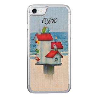 Birdhouse com papagaios e Parakeets, monograma Capa iPhone 7 Carved