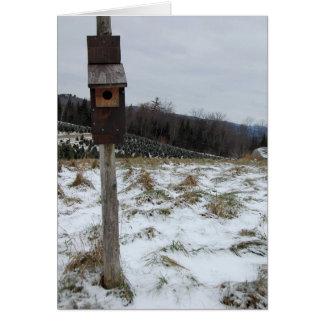 Birdhouse do inverno cartão comemorativo