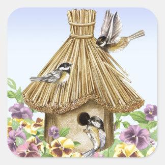 Birdhouse dos Chickadees Adesivo Quadrado