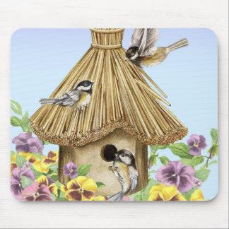 Birdhouse dos Chickadees Mouse Pad