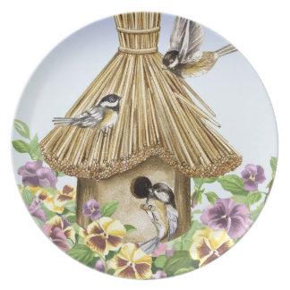 Birdhouse dos Chickadees Pratos