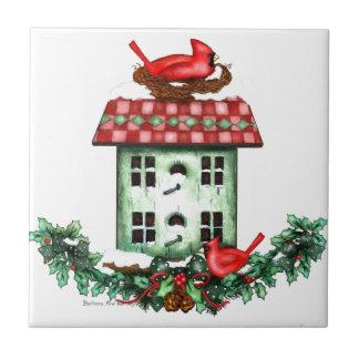 Birdhouse festivo de Winer Azulejo Quadrado Pequeno