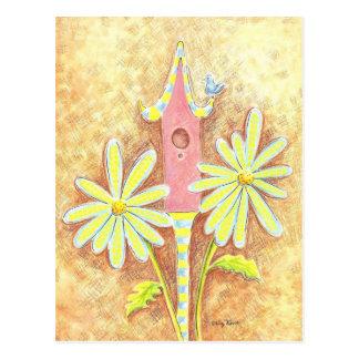 Birdhouse lunático cartão postal