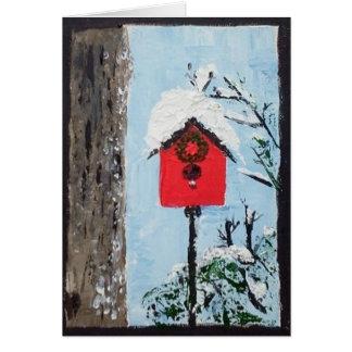 Birdhouse na neve cartão de nota