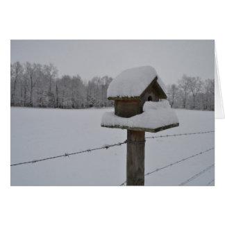 Birdhouse nevado cartão comemorativo