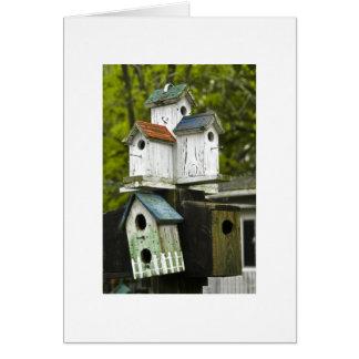 Birdhouses velhos cartão comemorativo