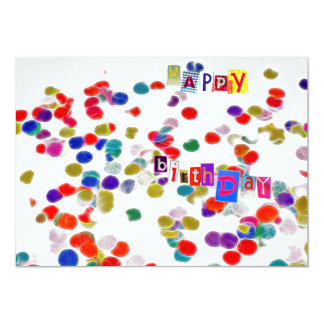 birthday card colored paper confetti convite 12.7 x 17.78cm