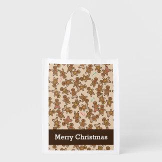 Biscoitos bonitos do feriado do Natal dos homens Sacolas Reusáveis