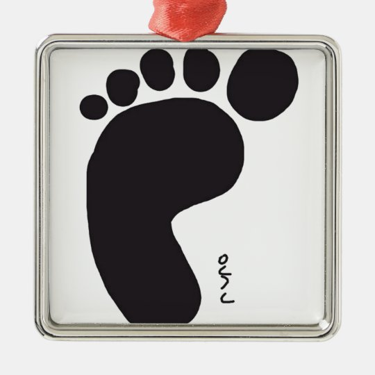 Black Foot Print Ornamento De Metal