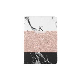 Bloco cor-de-rosa da cor do ouro do mármore branco capa para passaporte