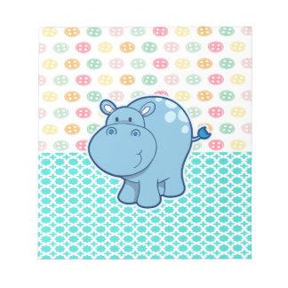 Bloco De Anotação Hipopótamo dos azuis bebés no fundo colorido dos