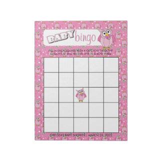 Bloco De Anotação Jogo cor-de-rosa do Bingo do tema do chá de