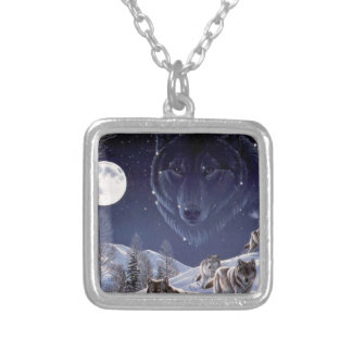 Bloco de lobo colar banhado a prata