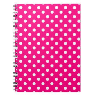 Bloco de notas do teste padrão de bolinhas do rosa caderno