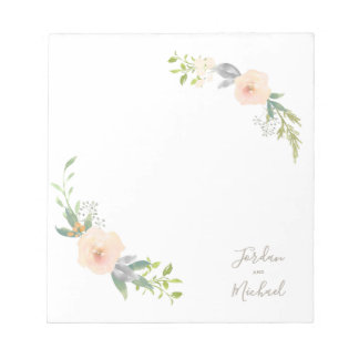 Bloco De Notas Flores da aguarela & casamento elegante do roteiro
