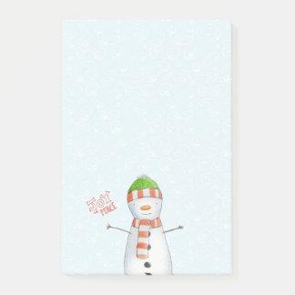 Bloco De Notas Natal bonito do boneco de neve da alegria e da paz