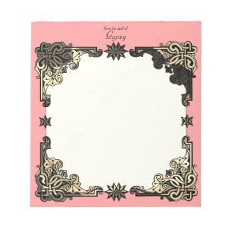 Bloco De Notas Nó celta boémio floral cor-de-rosa de Boho