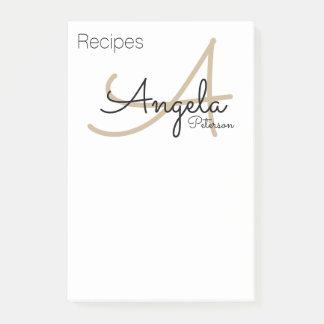 Bloco De Notas notas da receita do monograma do cozinheiro chefe