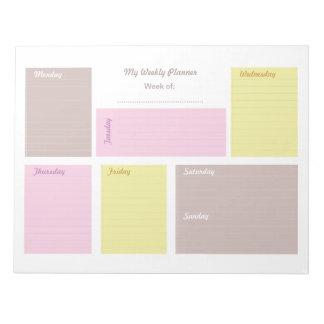 Bloco De Notas Planejador semanal do papel para cartas bonito