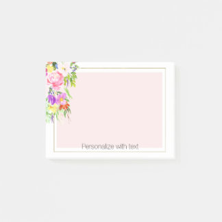 Bloco De Notas Post-it personalizado floral da aguarela