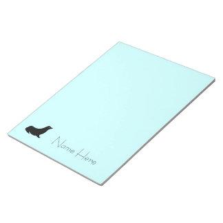 Bloco de notas - selo com nome no azul
