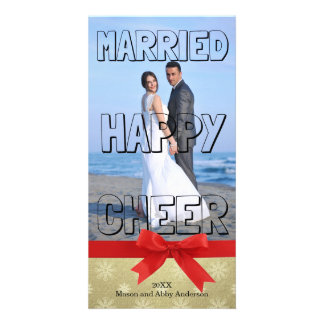 Bloco feliz casado do preto do elogio - cartão com cartão com foto