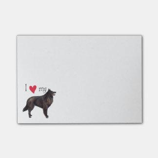 Bloco Post-it Eu amo meu Sheepdog belga