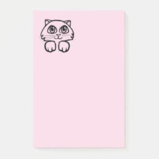 Bloco Post-it Gato bonito que espreita o rosa