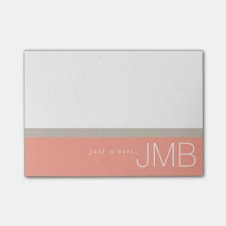 Bloco Post-it Tan branco e listra cor-de-rosa apenas um