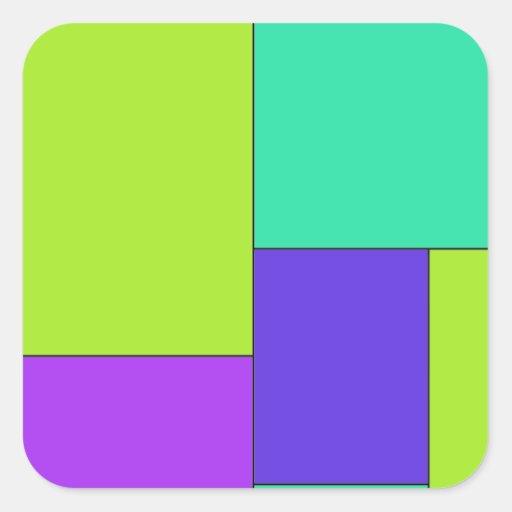 Bloco roxo e azul verde da cor adesivo em forma quadrada