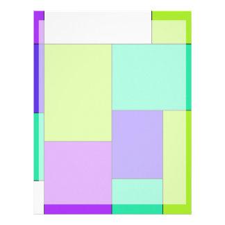 Bloco roxo e azul verde da cor papel timbrado