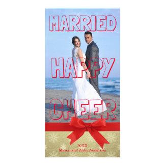 Bloco vermelho casado do elogio feliz - cartão com cartão com foto