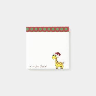 Bloquinho De Notas Feliz Natal, chapéu do papai noel do girafa -