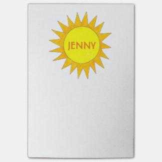 Bloquinho De Notas Post-it amarelo personalizado do dia ensolarado da