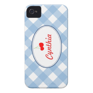 Blue country gingham pattern red cherry custom iPhone 4 Case-Mate case