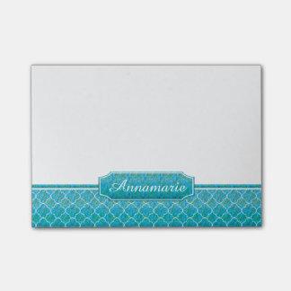 Blue Green Watercolors White Quatrefoil Monogram Post-it® Notes