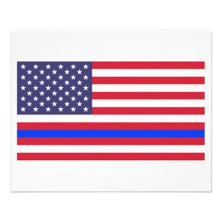 """BLUE LINE FINO na BANDEIRA "" Flyer 11.43 X 14.22cm"