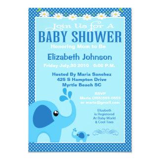 Blue Mama and Baby Elephant Baby Shower Invitation Convite 12.7 X 17.78cm