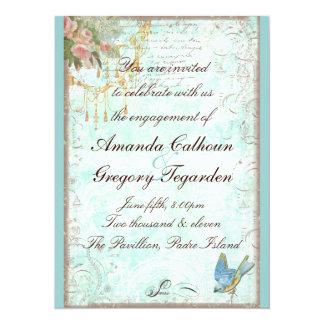 Bluebird & anúncio cor-de-rosa do noivado dos convite 13.97 x 19.05cm