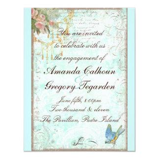 Bluebird & anúncio cor-de-rosa do noivado dos convite 10.79 x 13.97cm