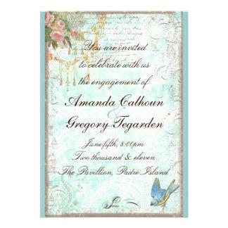 Bluebird & anúncio cor-de-rosa do noivado dos rosa convite