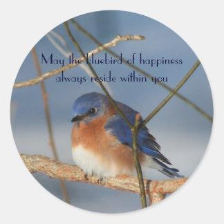 Bluebird da etiqueta inspirada da felicidade