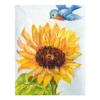 Bluebird da felicidade com girassol flyer 21.59 x 27.94cm