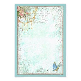 Bluebird e rosas cor-de-rosa RSVP ou cartão da Convite 8.89 X 12.7cm