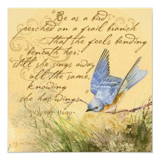 Bluebird em umas citações de Hugo do ramo Convites Personalizados