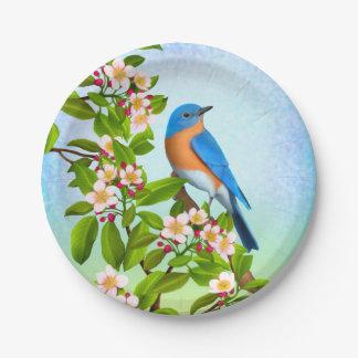 Bluebird oriental nas placas de papel das flores