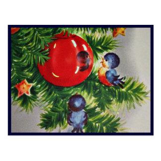 Bluebirds em uma árvore de Natal Cartão Postal