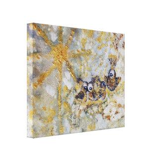 Bluebirds nas canvas da galeria de arte da neve
