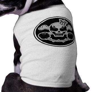 blusão de penas para cão skullhead camisa sem mangas para cachorro